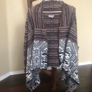 Forever21 Tribal Print Draped Cardigan Small